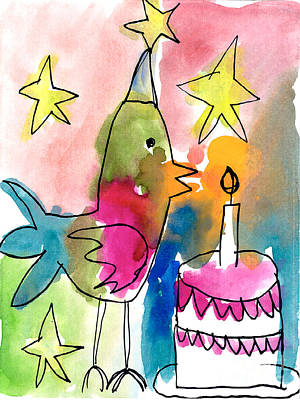 Painting - Birthday Bird by Michelle Malachowski Age Seven