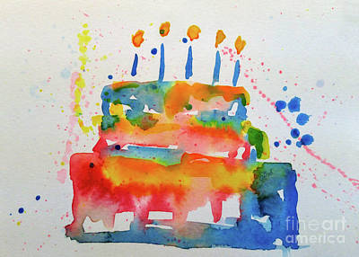 Wall Art - Painting - Birthday Blue Cake by Claire Bull