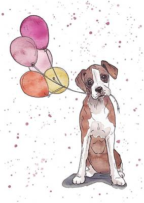 Balloons Drawing - Birthday Boxer by Katrina Davis