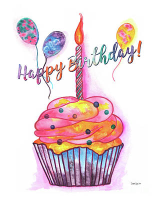 Candle Mixed Media - Birthday Cupcake by Debbie DeWitt