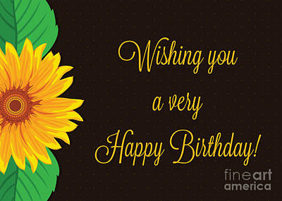 Digital Art - Birthday Dotted Sunflower by JH Designs