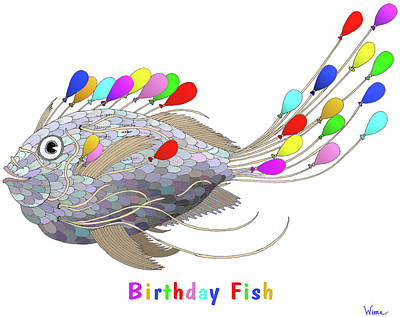 Mixed Media - Birthday Fish by Lise Winne