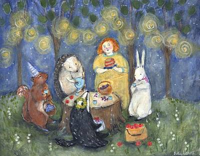 Tea Party Painting - Birthday For Badger by Katherine Lewis