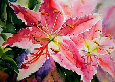 Lilium Painting - Birthday Lilies by Ruth Harris
