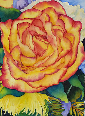 Painting - Birthday Rose by Judy Mercer