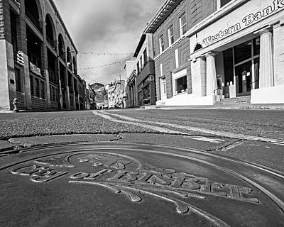 Photograph - Bisbee Manhole Cover Bisbee Arizona Az Black And White by Toby McGuire