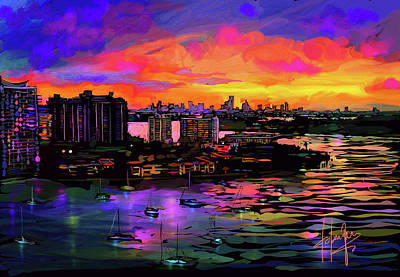 Painting - Biscayne Bay, Miami by DC Langer