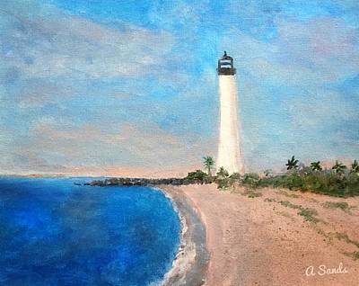 Painting - Biscayne Lighthouse by Anne Sands