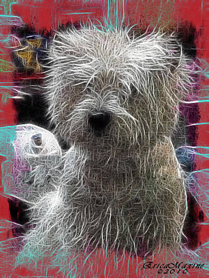 Art Print featuring the photograph Bishon Frise by EricaMaxine  Price