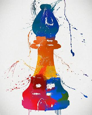 Chess Pieces Painting - Bishop Chess Piece Paint Splatter by Dan Sproul