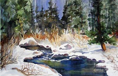 Art Print featuring the painting Bishop Creek Winter by Pat Crowther