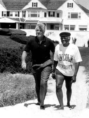 Ted Kennedy Photograph - Bishop Desmond Tutu And Senator Ted Kennedy Enjoy The Beach At The Kennedy Compound. 1990 by Paul Adao