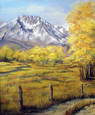 Barbed Wire Fences Painting - Bishop In The Fall by Donna Tucker