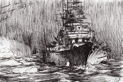 Warships Drawing - Bismarck Off Greenland by Vincent Alexander Booth