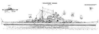 Bismarck - Part 02 Of The Ship Plans. Iconic World War II Battleship Of The Kriegsmarine Art Print by Jose Elias - Sofia Pereira