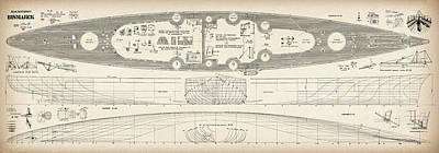 Battleship Photograph - Bismarck - Part 03 Of The Ship Plans. Iconic World War II Battleship Of The Kriegsmarine by Jose Elias - Sofia Pereira