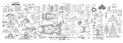 Navy Digital Art - Bismarck - Part 04 Of The Ship Plans. Iconic World War II Battleship Of The Kriegsmarine by Jose Elias - Sofia Pereira