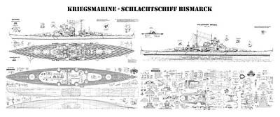 Ship Digital Art - Bismarck - Ship Plans Of The Iconic World War II Battleship Of The Kriegsmarine, The German War Navy by Jose Elias - Sofia Pereira