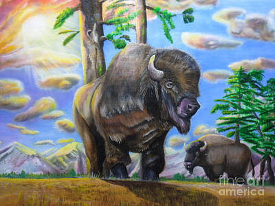 Art Print featuring the painting Bison Acrylic Painting by Thomas J Herring