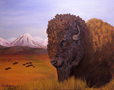Painting - Bison And Plains by Janet Greer Sammons