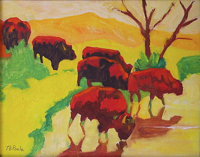 Painting - Bison Art Bison Crossing Stream Yellow Hill Painting Bertram Poole by Thomas Bertram POOLE