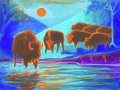Painting - Bison Art - Seven Bison At Sunrise Yosemite Painting T Bertram Poole by Thomas Bertram POOLE