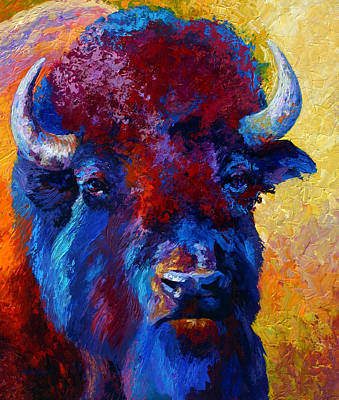 Bison Painting - Bison Boss by Marion Rose