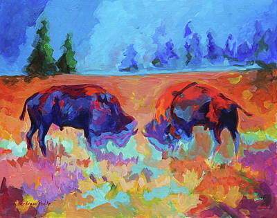 Painting - Bison Contest by Thomas Bertram POOLE