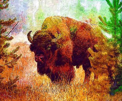 Bison Digital Art - Bison by Elena Kosvincheva
