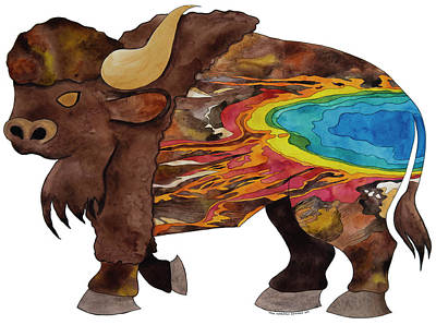 Bison - Grand Prismatic Spring In Yellowstone National Park Original by Tara Warburton-Schwaber