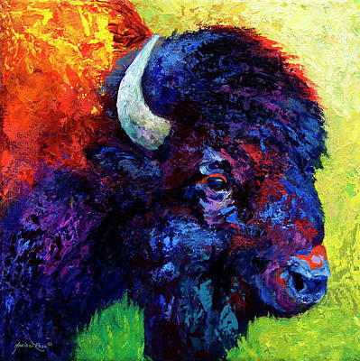 Bison Wall Art - Painting - Bison Head Color Study IIi by Marion Rose
