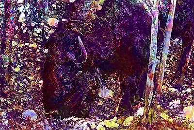 Bison Digital Art - Bison Horns Shaggy Animal Buffalo  by PixBreak Art