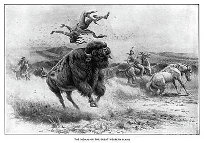 Drawing - Bison Hunt.  by Granger