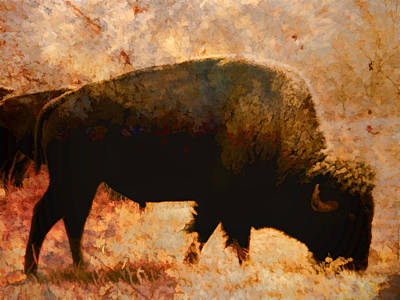 Digital Art - Bison Impressionistic  by Ann Powell