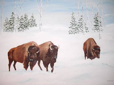 Painting - Bison In The Snow by Ellen Canfield