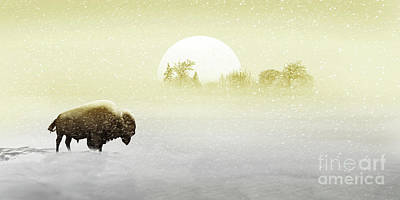 Bison Digital Art - Bison In The Snow by Monika Juengling
