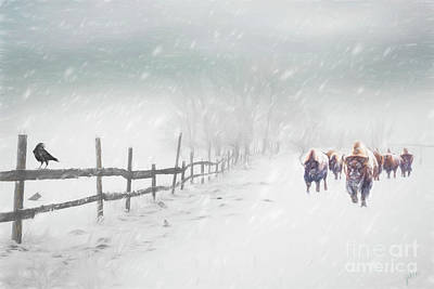 Digital Art - Bison In Winter by Jim Hatch