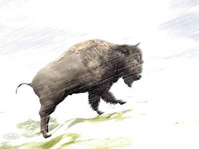Bison Digital Art - Bison In Winter Storm - 3d Render by Elenarts - Elena Duvernay Digital Art