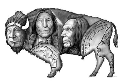 Bison Drawing - Bison Indian Montage 2 by Greg Joens