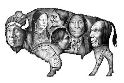 Bison Drawing - Bison Indian Montage by Greg Joens