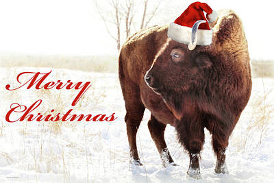 Bison Merry Christmas Art Print