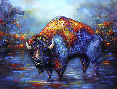Water Buffalo Wall Art - Pastel - Bison by Patricia Lintner