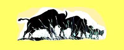 Digital Art - Bison Prairie Run by Aliceann Carlton