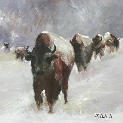 Painting - Bison Run Oil Painting By Kmcelwaine by Kathleen McElwaine