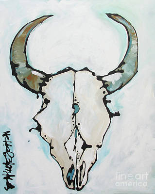 Painting - Bison Skull #2 by Nicole Gaitan