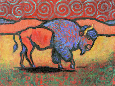 Painting - Bison Totem by Linda Ruiz-Lozito