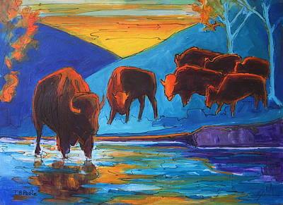 Painting - Bison Turquoise Hill Sunset Acrylic And Ink Painting Bertram Poole by Thomas Bertram POOLE