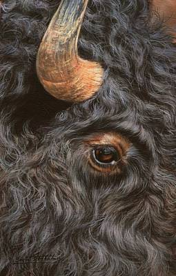 Painting - Bison Up Close by David Stribbling