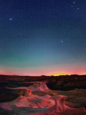 Digital Art - Bisti Badlands Hoodoos Under New Mexico Stary Night    by OLena Art Brand