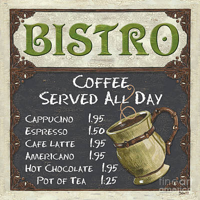 Cafe Wall Art - Painting - Bistro Chalkboard  by Debbie DeWitt